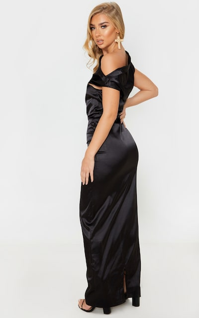 Black Off Shoulder Pleat Detail Satin Maxi Dress