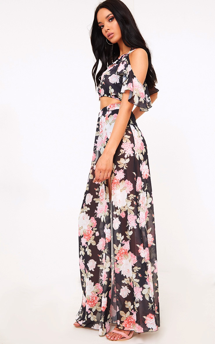 Black Floral Floaty Side Split Maxi Skirt 1