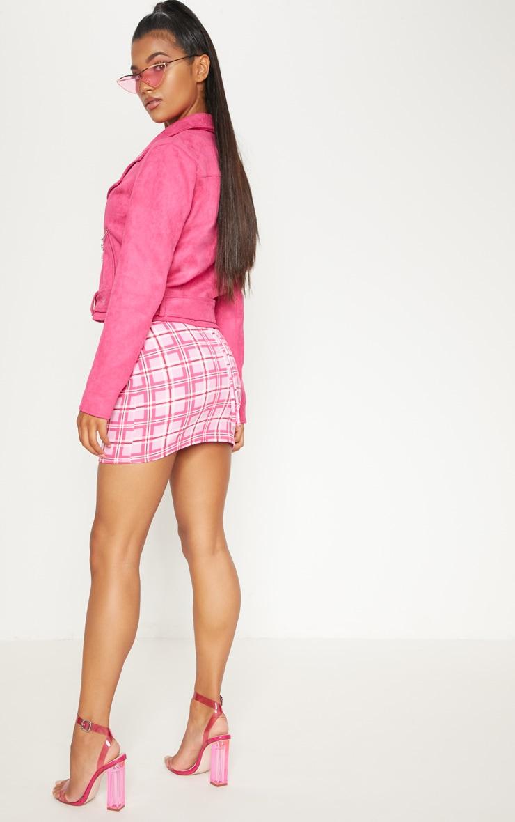 Pink Faux Suede Biker Jacket 2