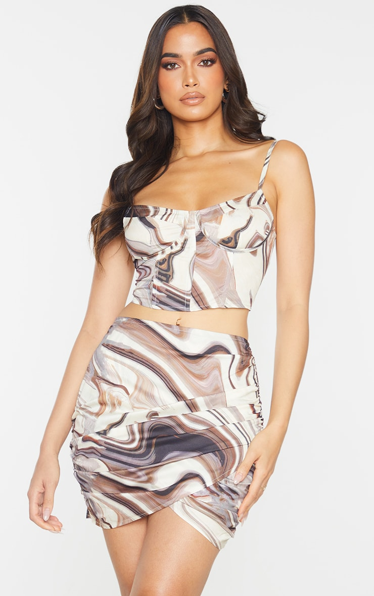 Brown Woven Marble Printed Cup Detail Strappy Corset Top 1