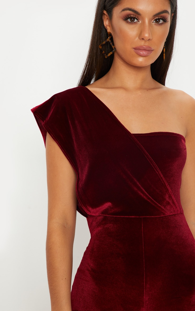 Burgundy Velvet Drape One Shoulder Jumpsuit 4
