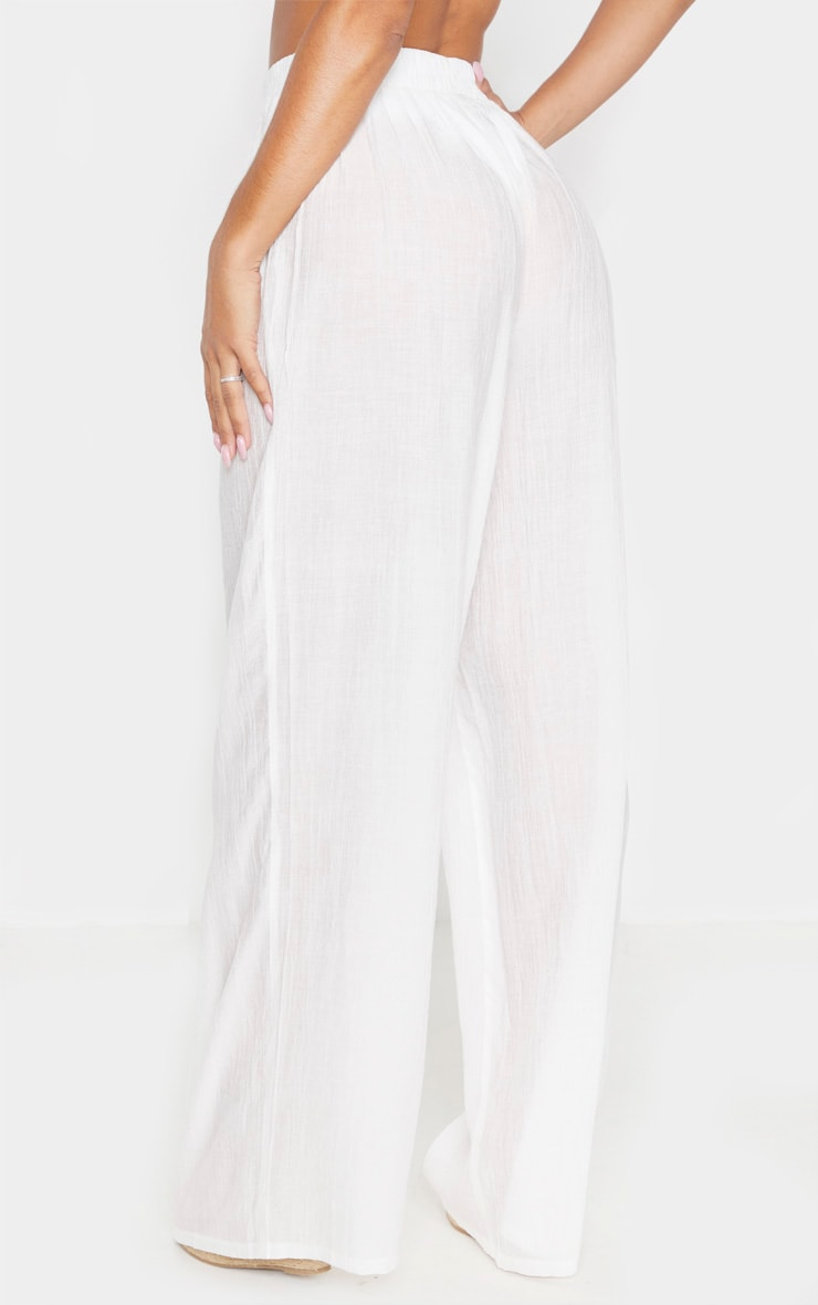 Ecru Wide Leg Beach Floaty Trouser 4