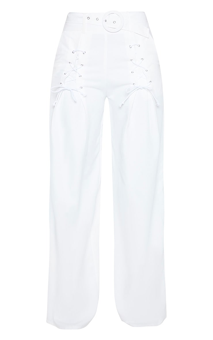 White Woven Belted Lace Detail Wide Leg Pants 3
