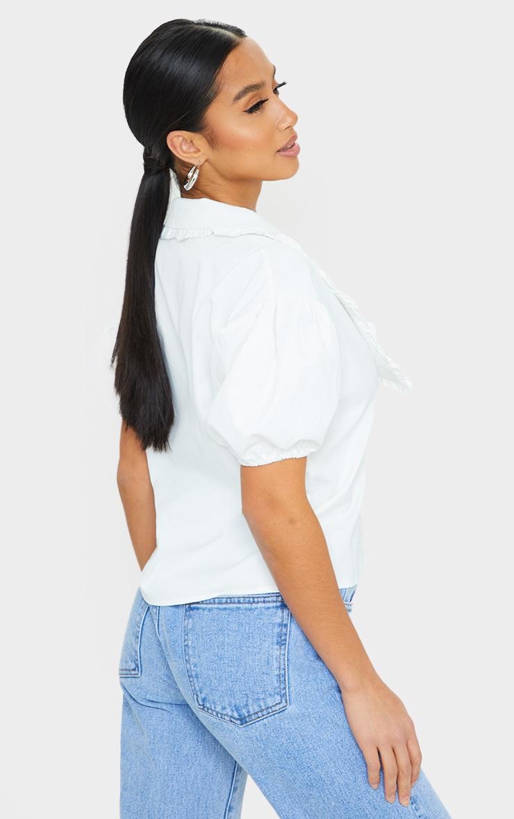 Petite White Oversized Collar Detail Blouse 2
