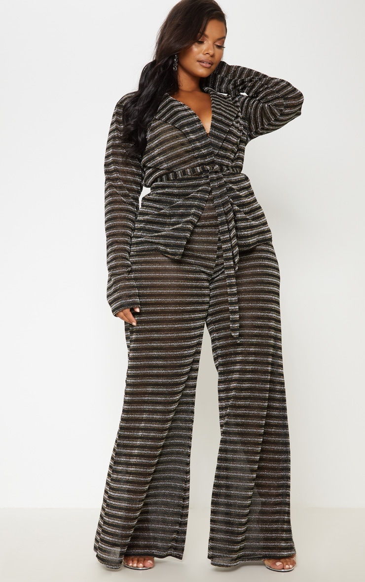 Black Glitter Stripe Wide Leg Trouser 2