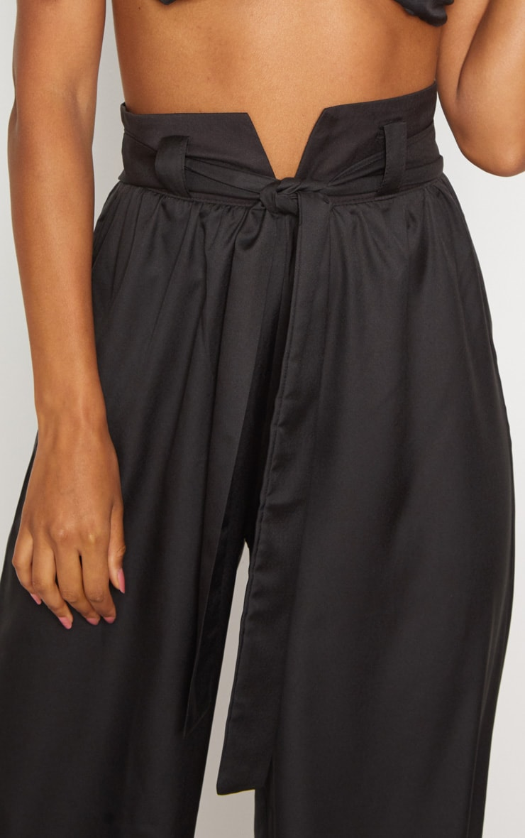 Black Cotton High Waisted Belt Detail Trousers 5