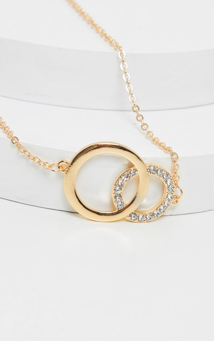 Gold Double Circle Diamante Choker 3
