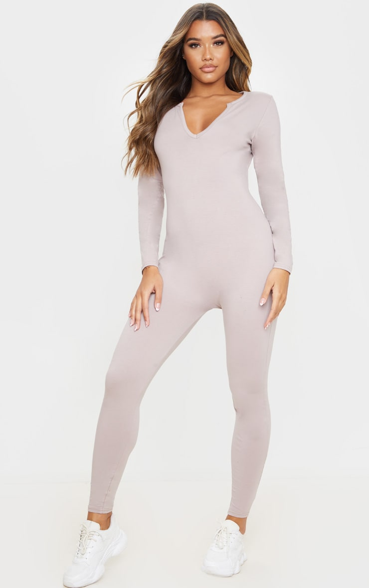 Pale Mauve Seamless Cotton Elastane V Neck Jumpsuit 5
