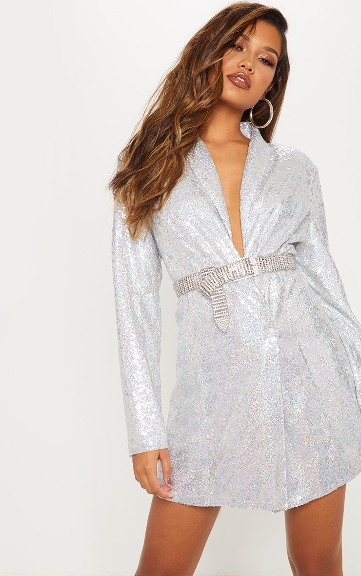 Silver Sequin Oversized Blazer Dress image 3