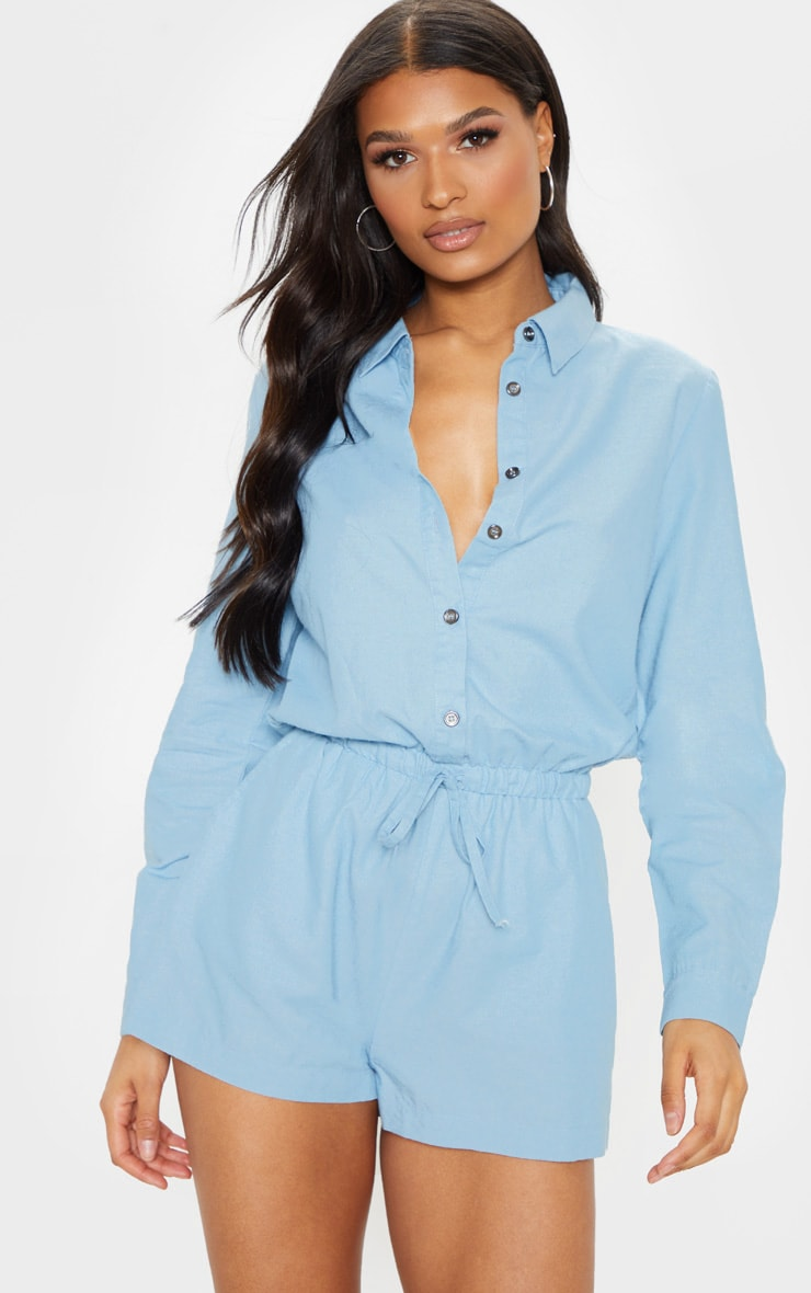 Light Wash Chambray Tie Waist  Romper 4