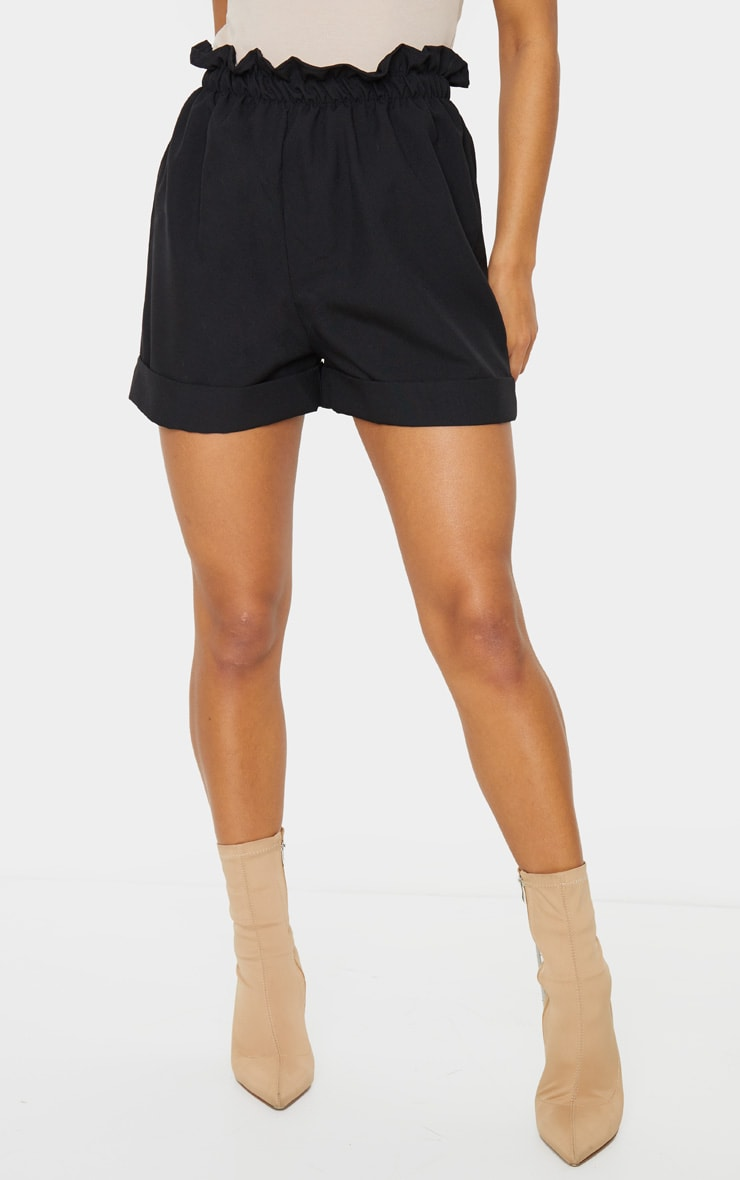 Black Woven Turn Up Hem Short 2
