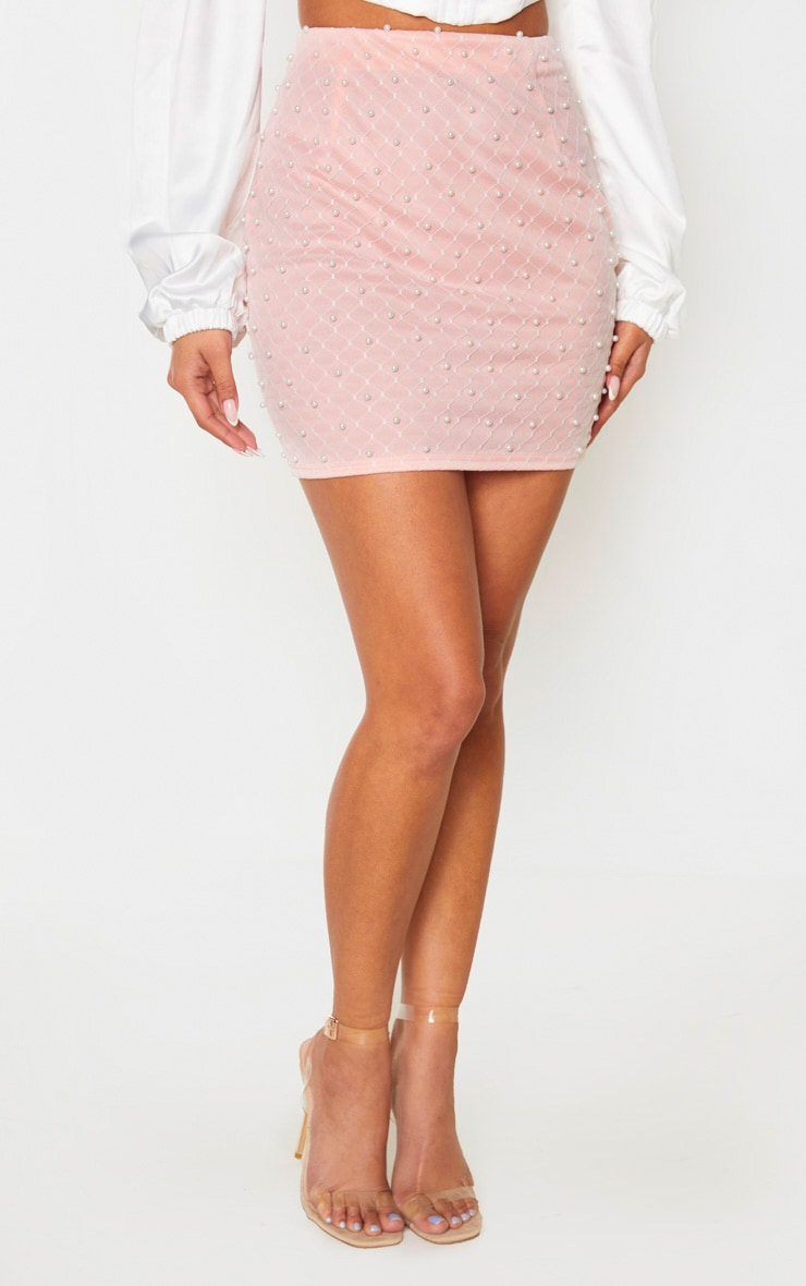 Baby Pink Woven Bead Detail Mini Skirt 2