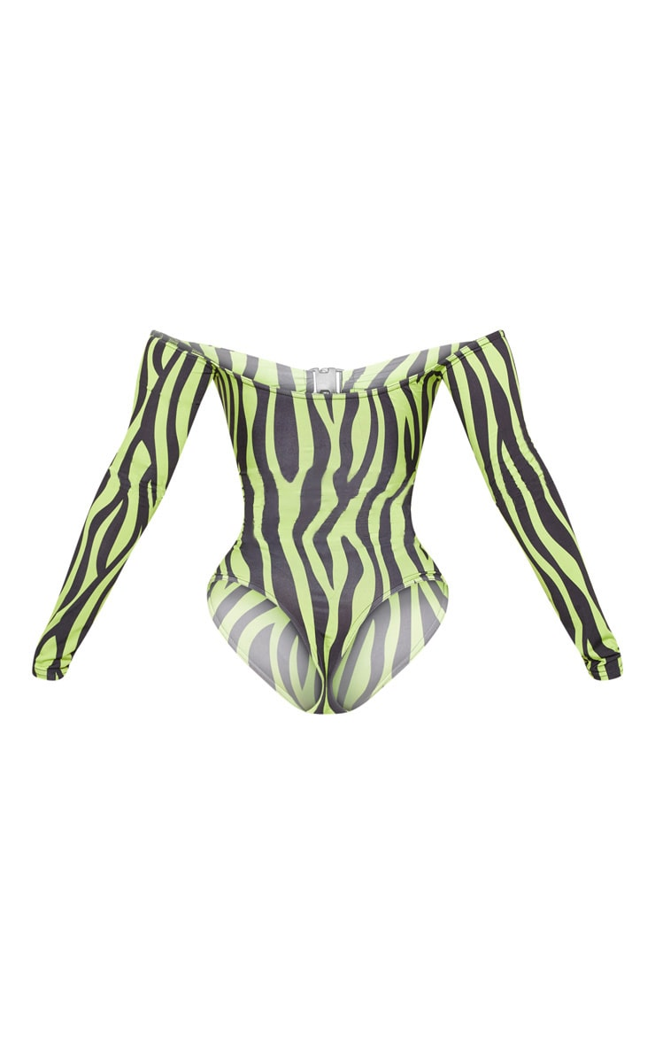 Shape Neon Green Zebra Print Bardot Buckle Front Bodysuit 4
