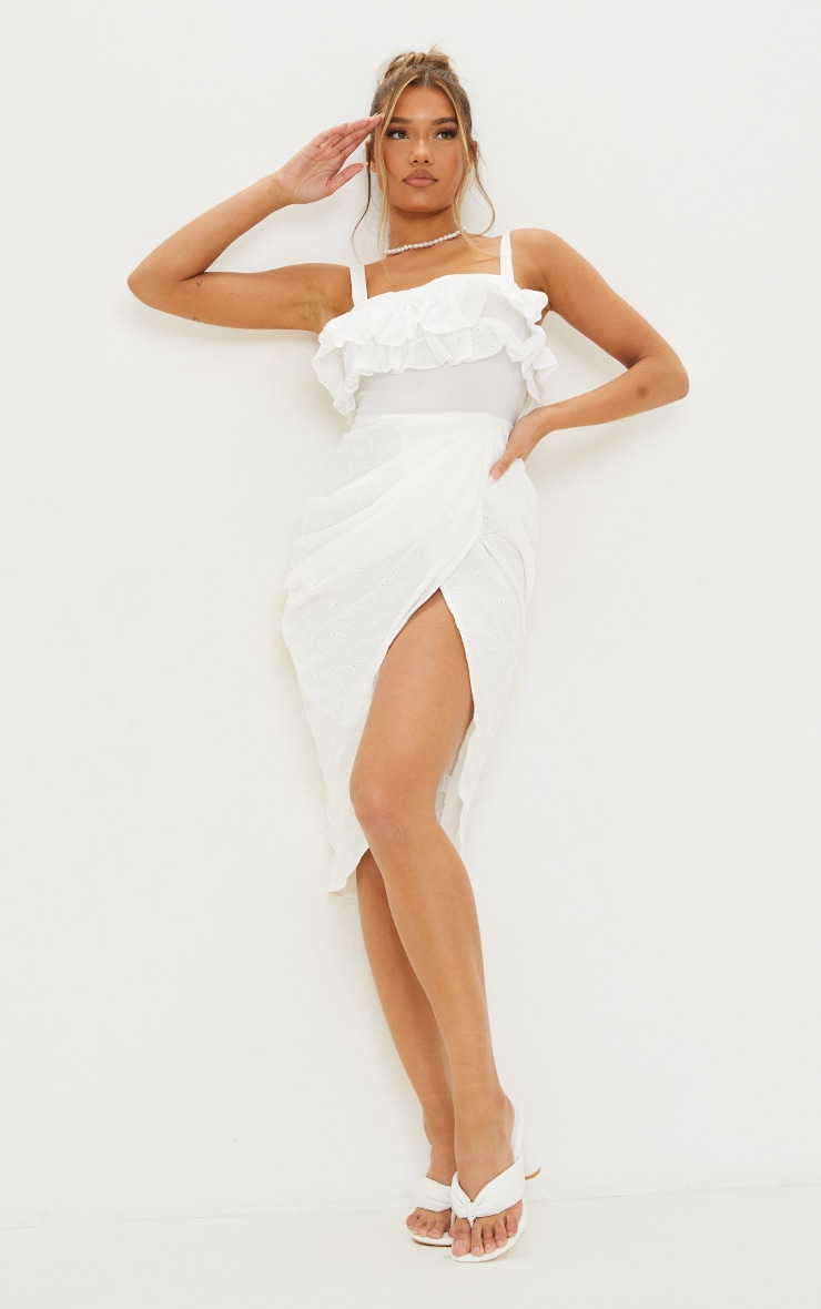 White Broderie Anglaise Strappy Frill Draped Midi Dress 1