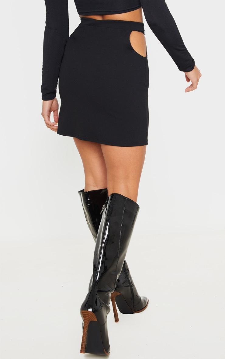 Petite Black Cut Out Side Mini Skirt 4