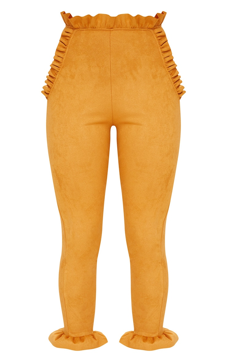 Mustard Faux Suede Frill Trim Trousers 3