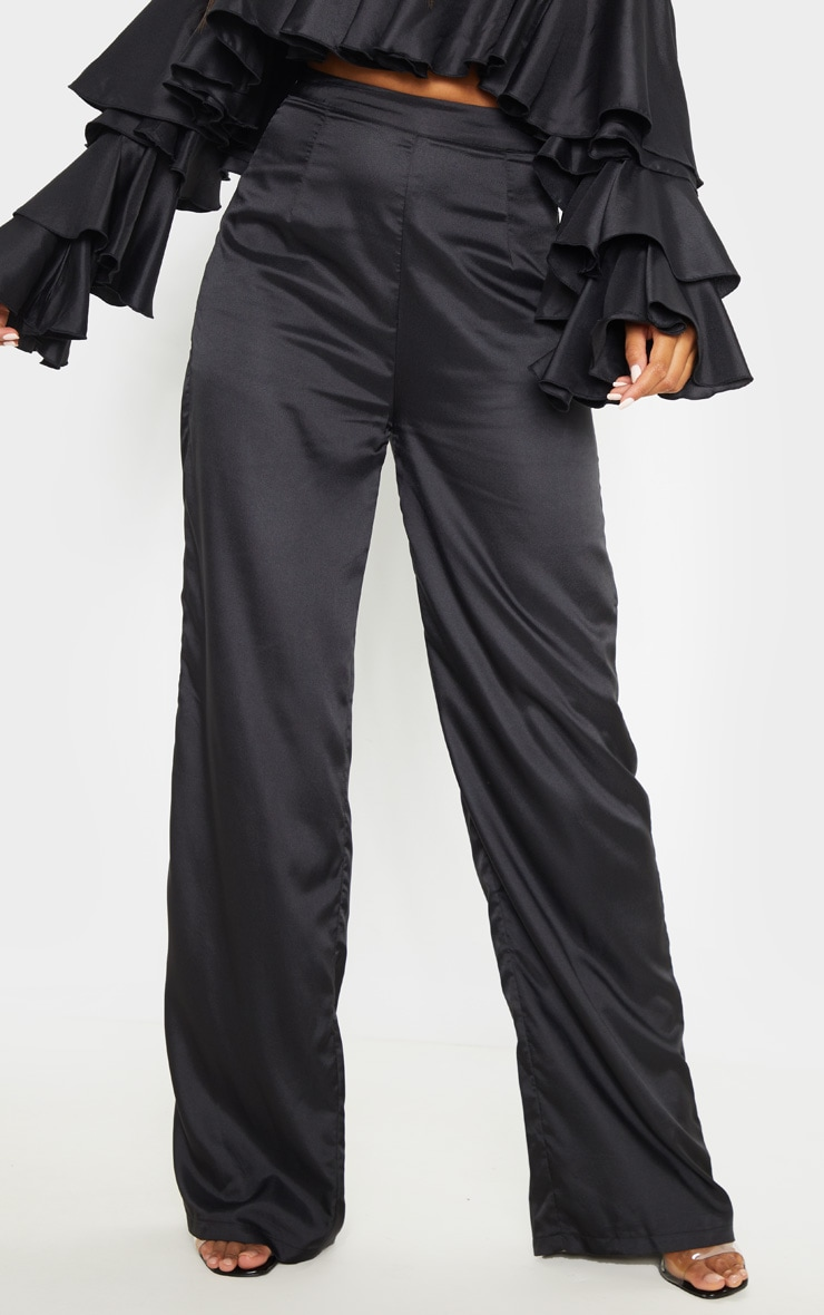 Black Woven High Waisted Wide Leg Trouser 2