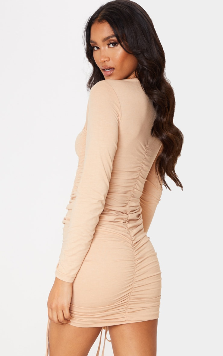 Stone Long Sleeve Ruched Front Bodycon Dress 2
