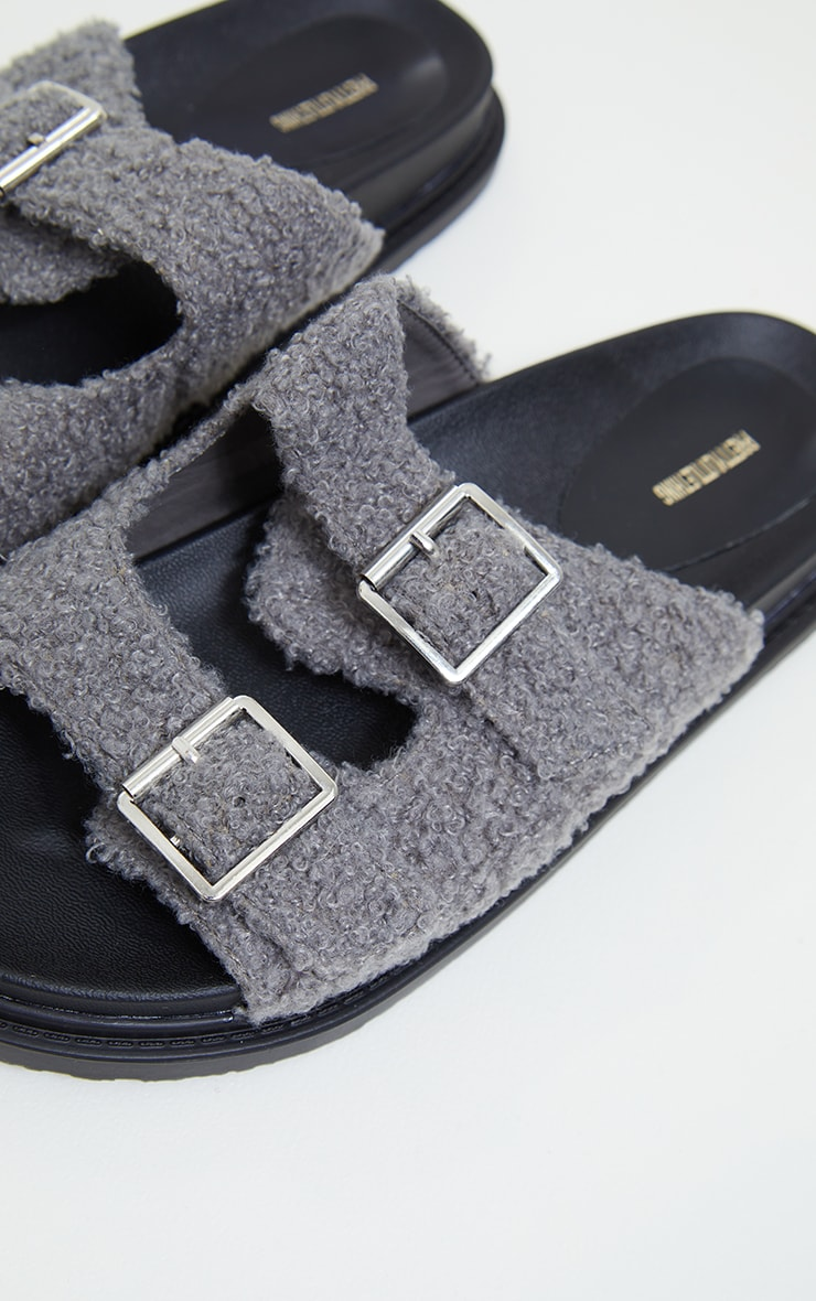 Grey Borg Buckle Footbed Sandals 4