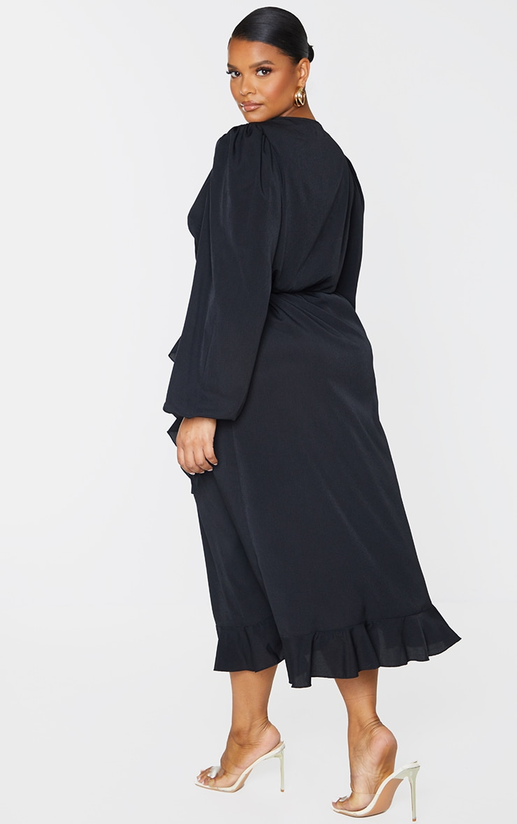 Plus Black Ruffle Wrap Front Midi Dress 2