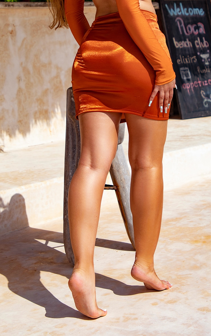Orange Metallic Mini Split Beach Skirt 2