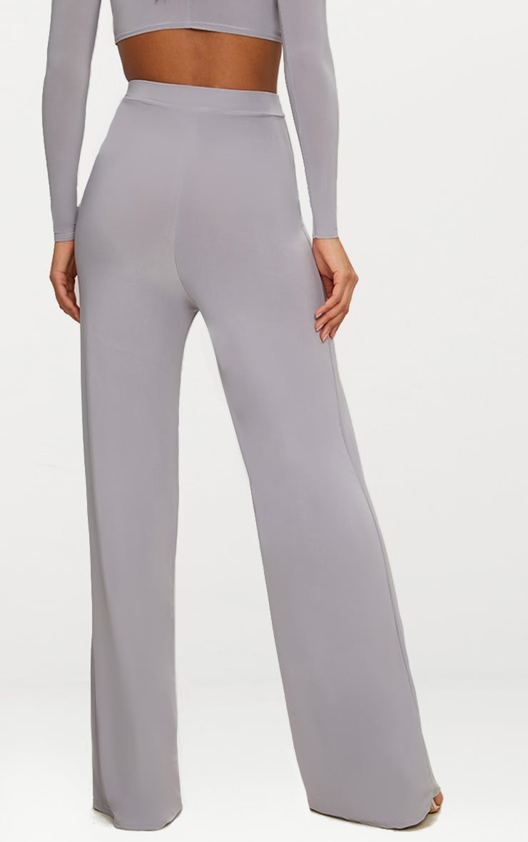 Ice Grey Slinky Wide Leg Pants  4