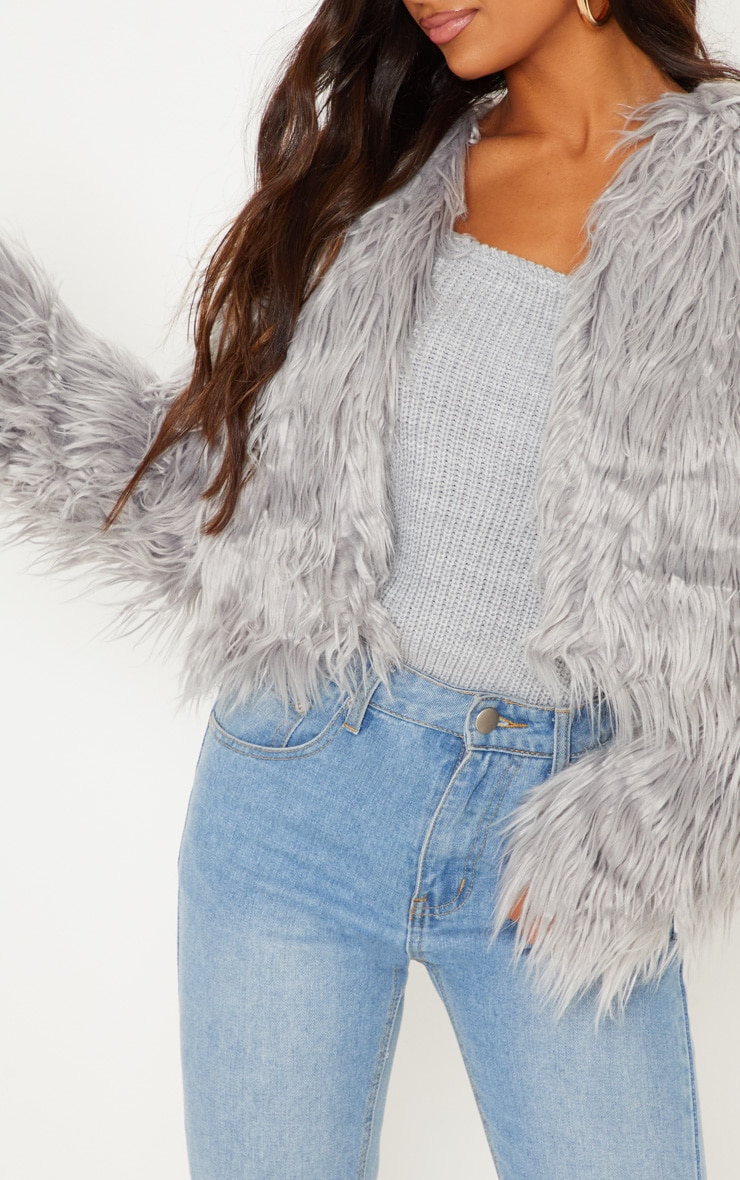 Liddie Grey Faux Fur Shaggy Cropped Jacket 5