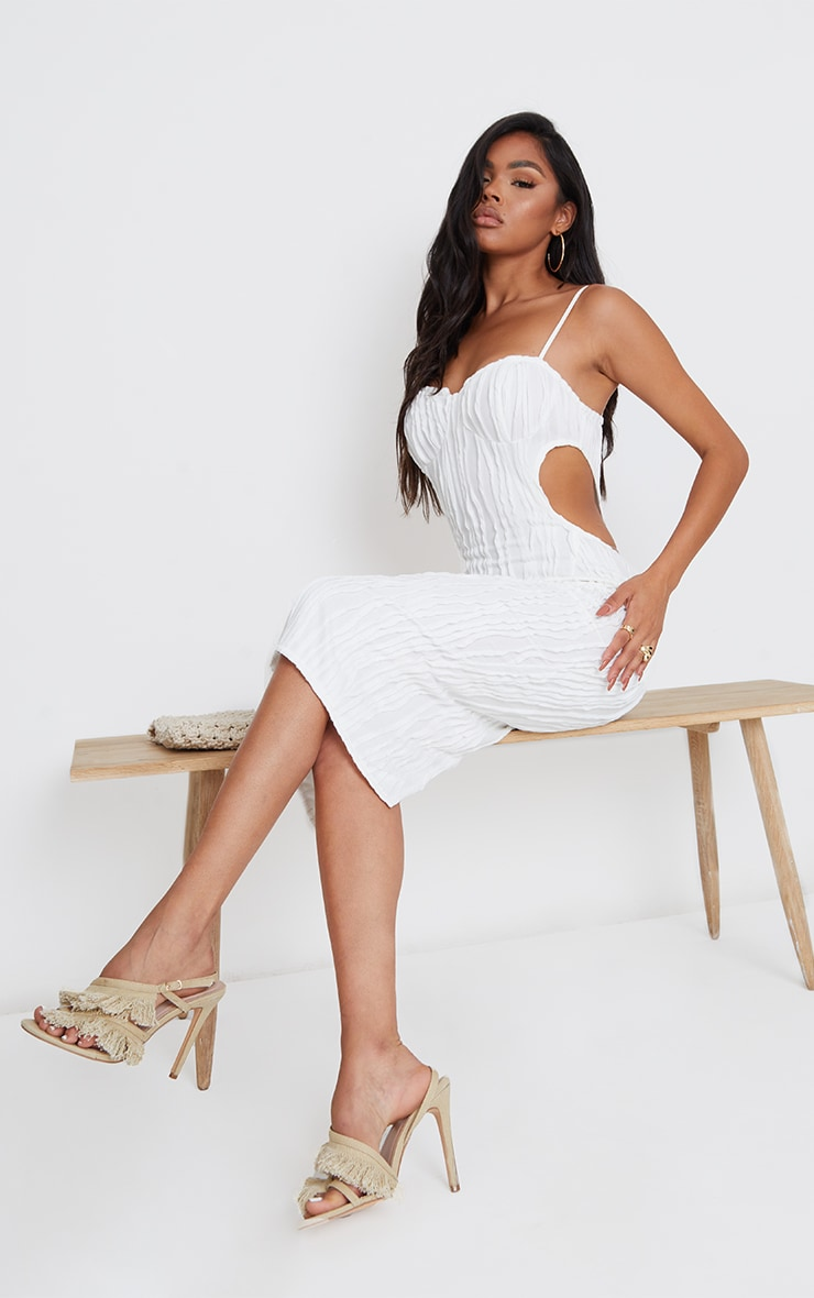 White Exposed Seam Strappy Cut Out Cup Detail Midi Dress 1