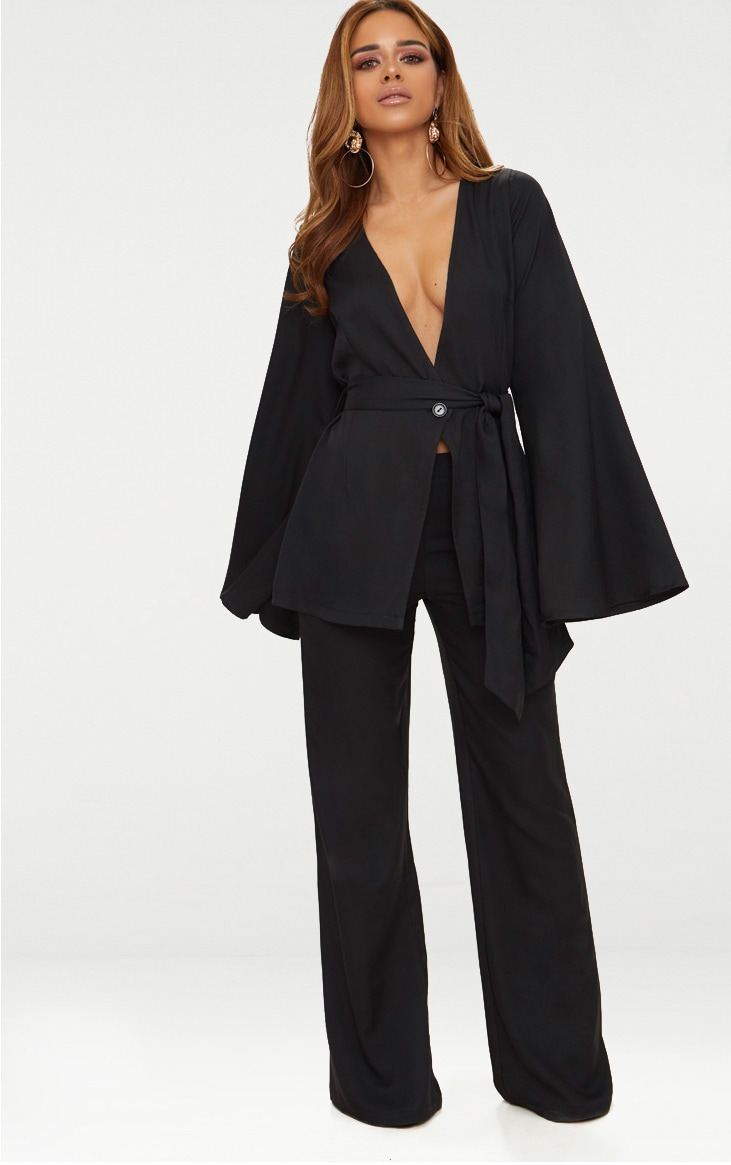 new arrivals hot products best website Petite Black Woven Wide Leg Suit Trousers