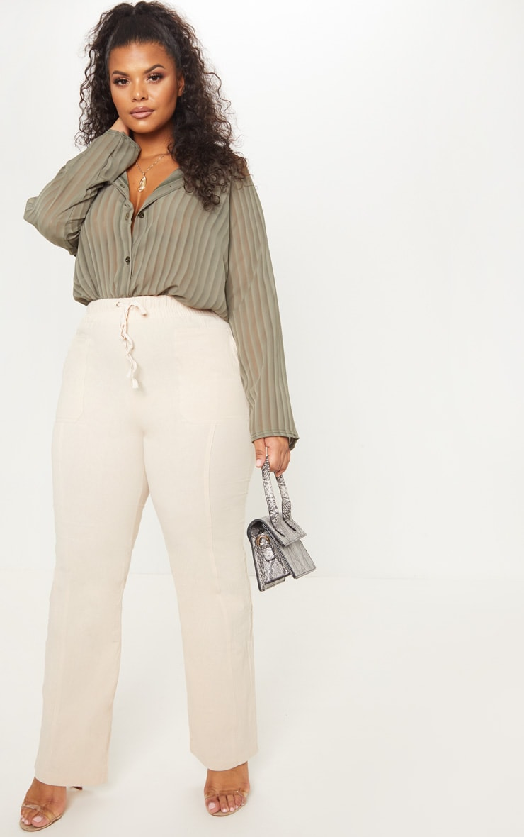Plus Khaki Striped Chiffon Oversized Shirt 4