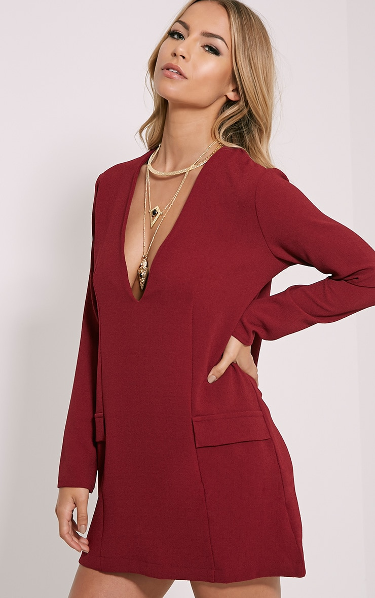 Jemima Burgundy Loose Fit Blazer Dress 4