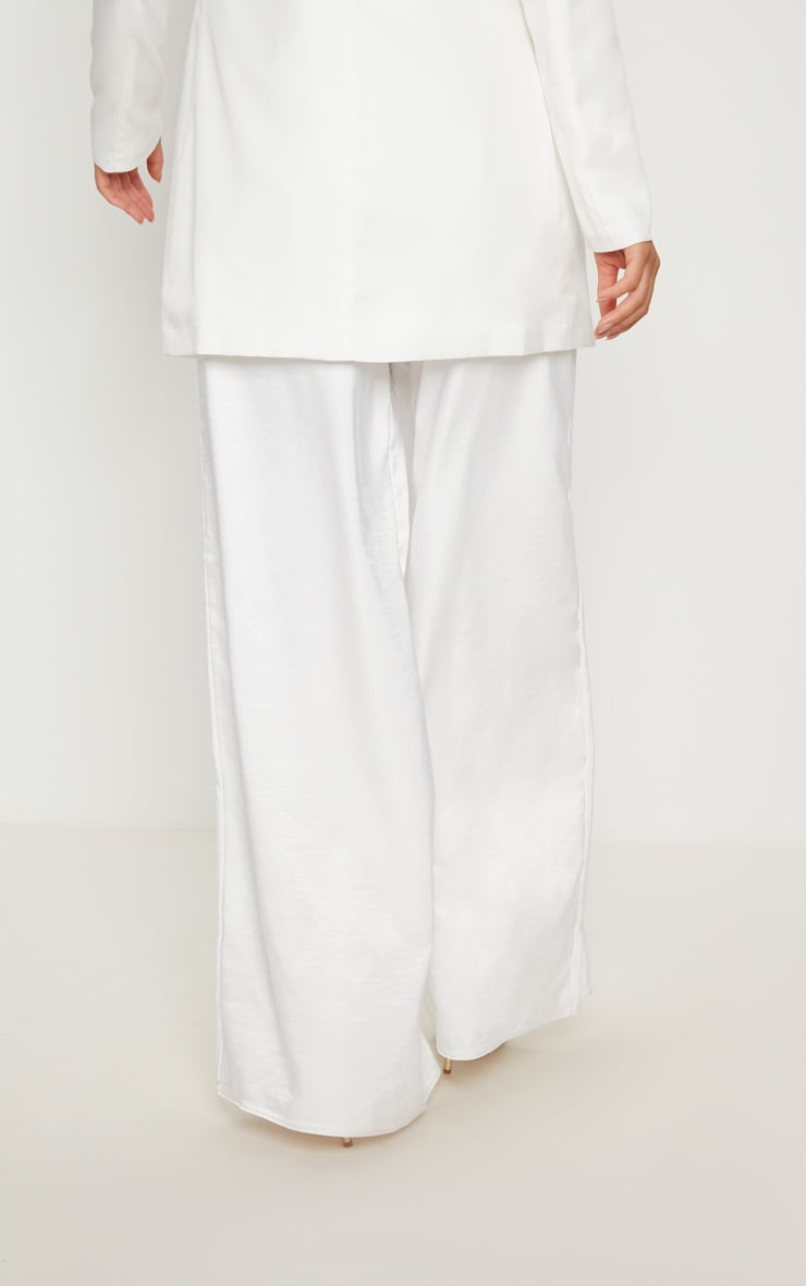 White Oversized Satin Wide Leg Trouser 4