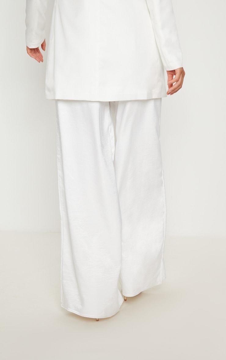 White Oversized Satin Wide Leg Pants 4