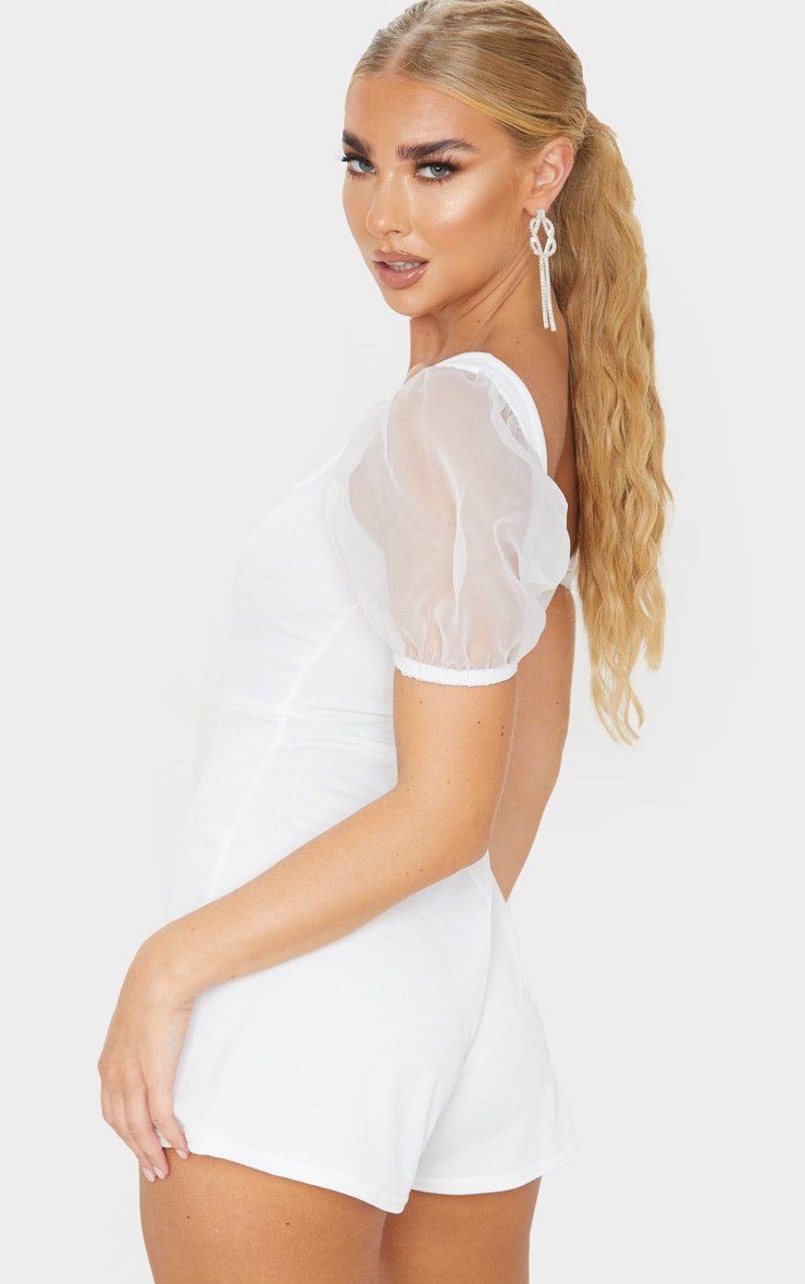 White Organza Puff Sleeve Playsuit 2