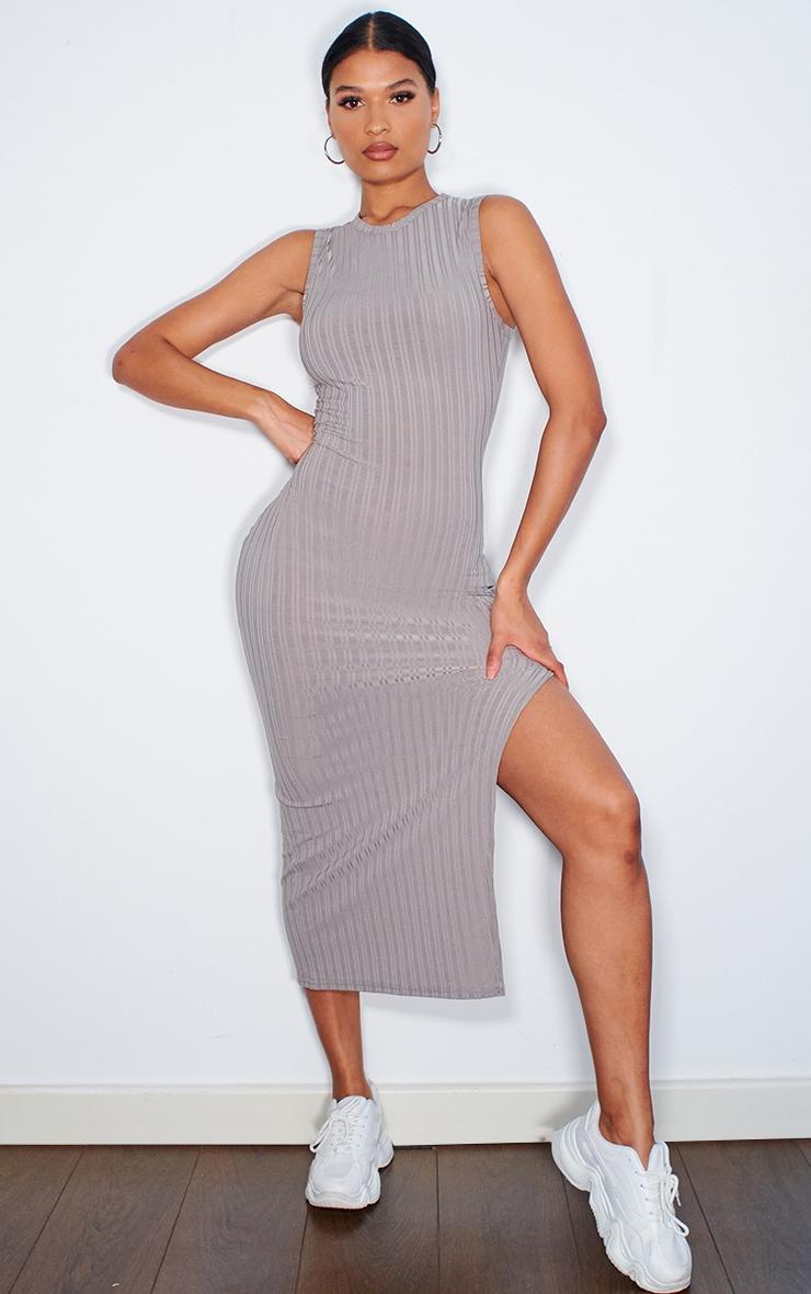 Grey Recycled Rib Split High Neck Midi Dress 1