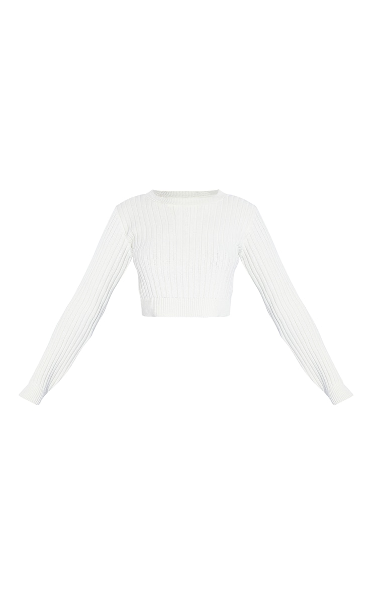 Cream Ribbed Split Back Cropped Sweater 5