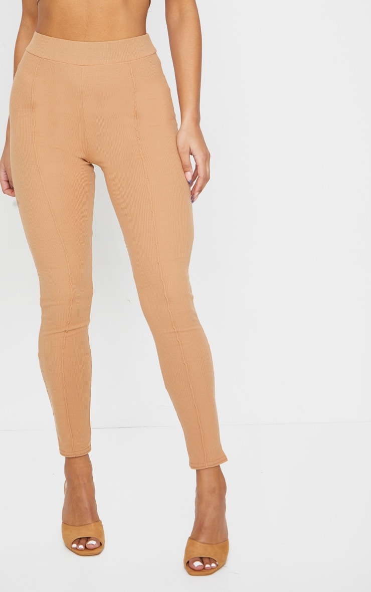 Camel Pintuck Ribbed Legging 2