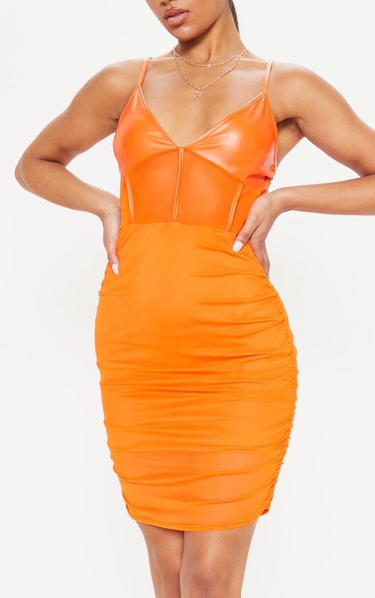 Orange PU Insert Mesh Ruched Bodycon Dress 5