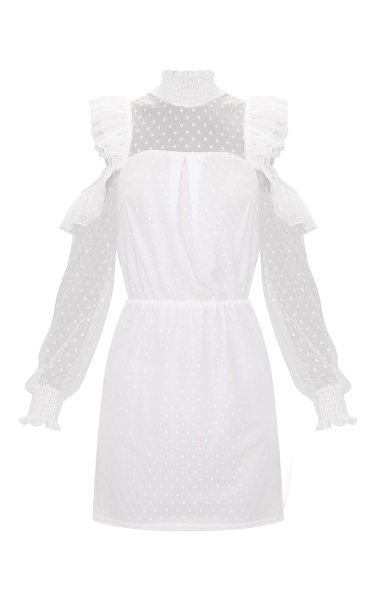 White Lace High Neck Cold Shoulder Frill Detail Skater Dress 3