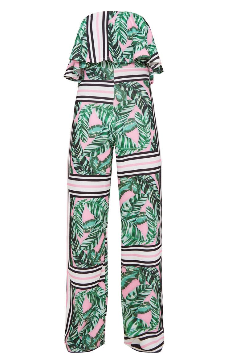 Palm Printed Bardot Double Layer Jumpsuit 3