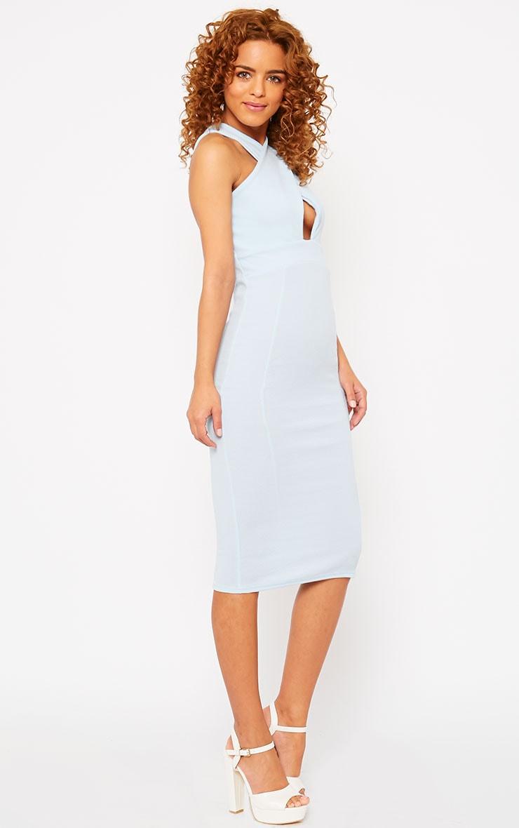 Courtney Powder Blue Cross Front Midi Dress 4