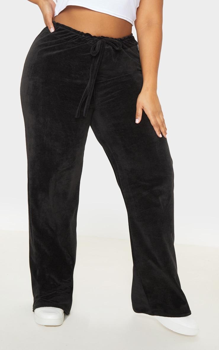 Plus Black Velour Drawstring Wide Leg Pants 2