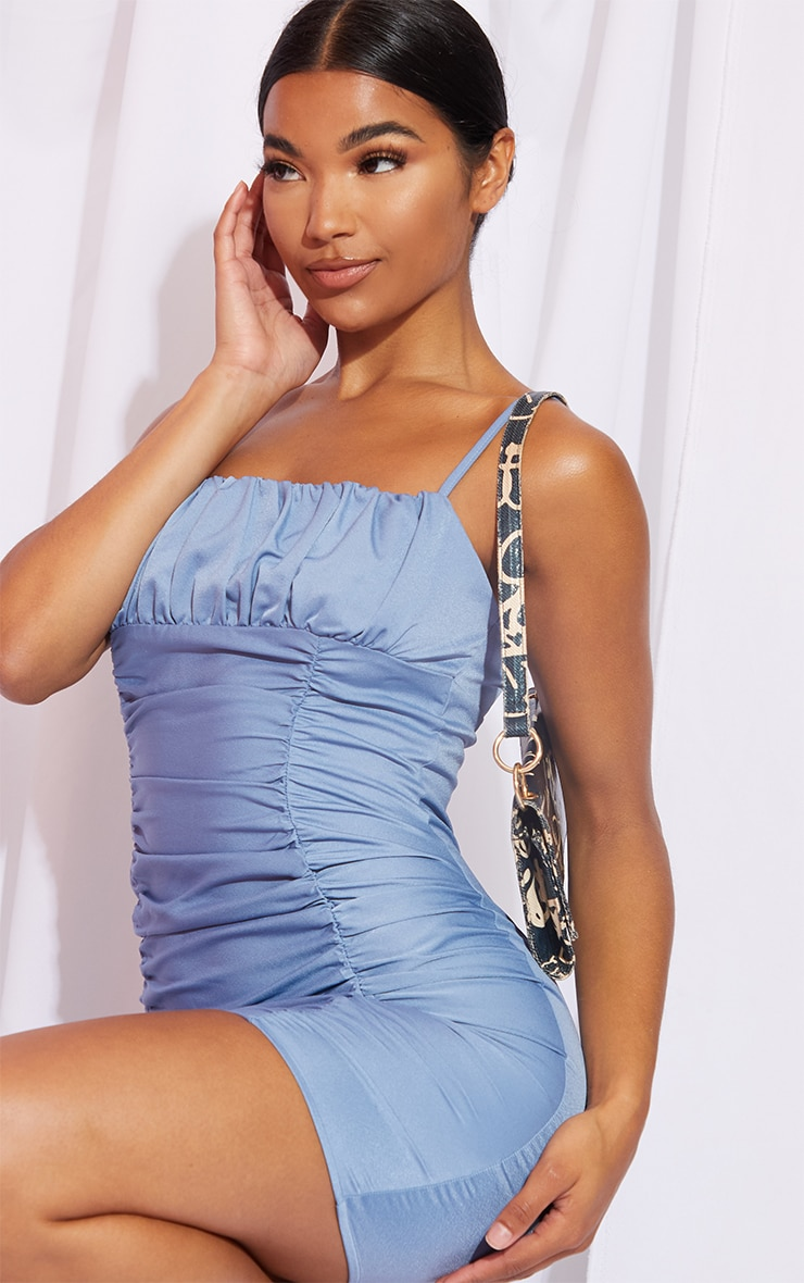 Steel Blue Satin Strappy Ruched Panel Bodycon Dress 4