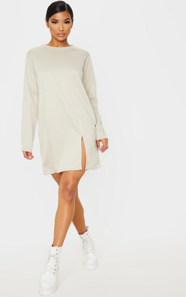 Beige Long Sleeve Split Hem Sweater Dress 1
