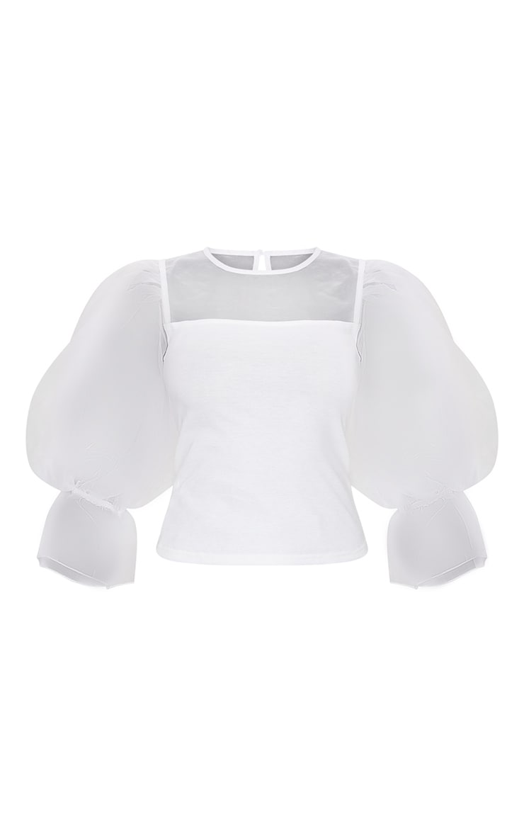 White Organza Mesh Long Top 5