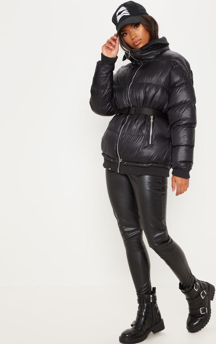 Doudoune surdimensionnée noire à poches zippées 4