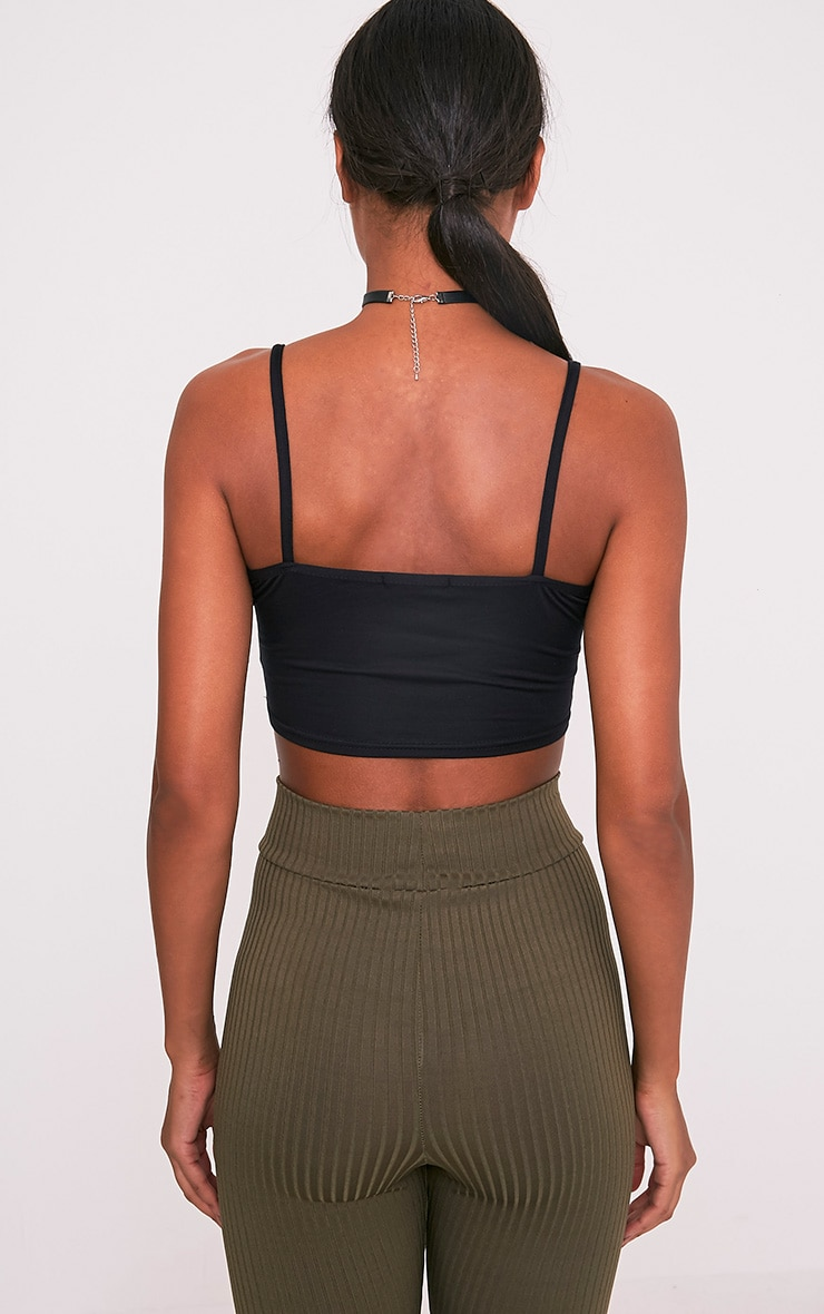 Basic Black Jersey Strappy Crop Top 3