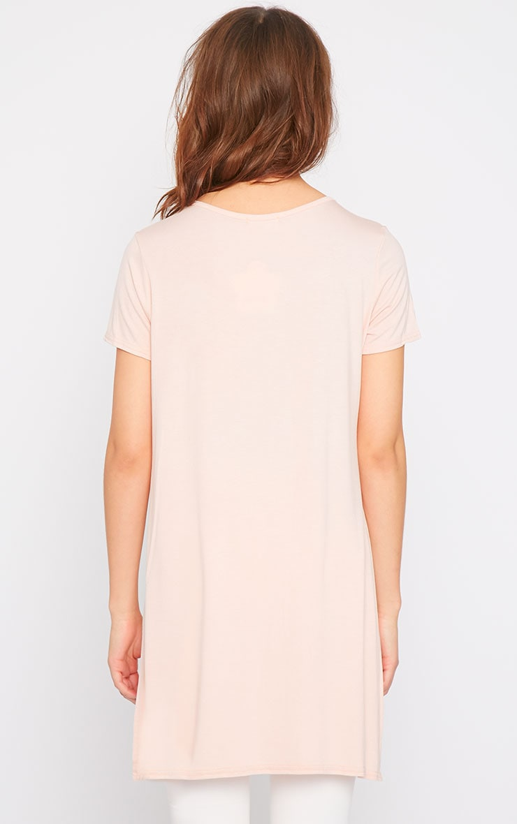 Basic Pink Side Split Drop Hem Tee-10 2