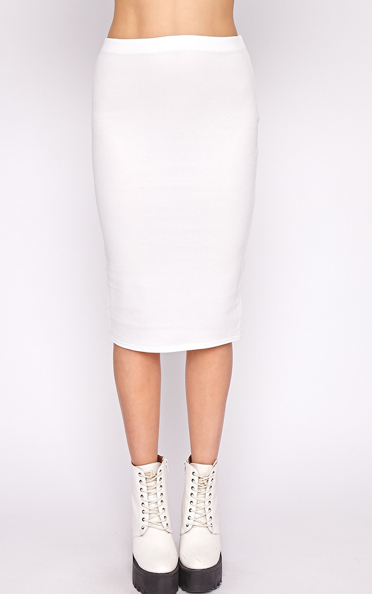 Alexa White Textured Midi Skirt -S/M 5