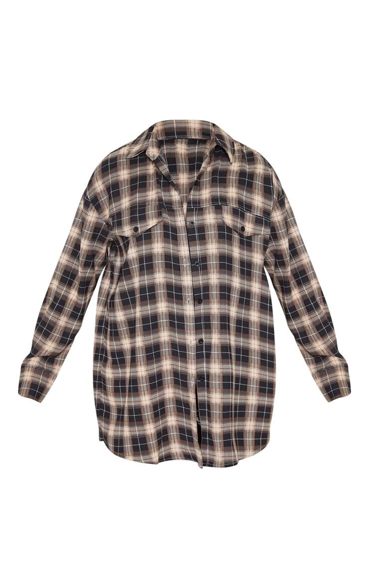 Chemise oversize marron à carreaux 3